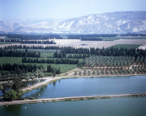 Israel, aerial view of the Jordan valley looking across fish ponds and orchards to Gilead mountains