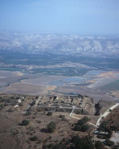 Belvoir Crusader Fortress, 12th century, aerial view looking east over the Jordan valley, Israel