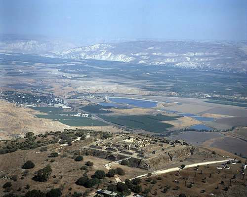 Israel, aerial view of Belvior Crusader Fortress from west south west across the Jordan Valley
