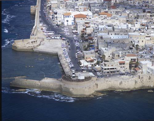 Crusader walls, aerial view, Acre, Israel