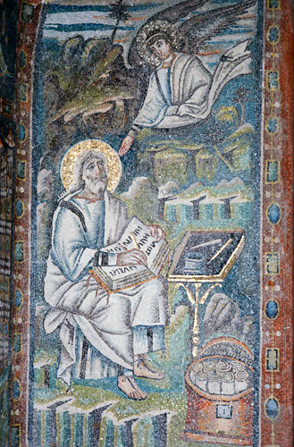 Italy, Ravenna St Matthew and His Symbol 6th century Byzantine mosaic in the Basilica of San Vitale
