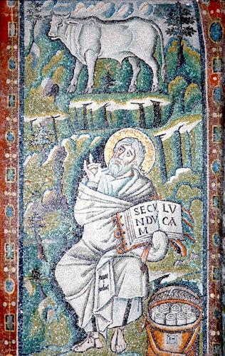 Italy, Ravenna St Luke and his symbol 6th century Byzantine mosaic in the Basilica of San Vitale