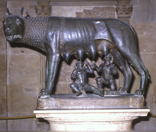 Etruscan bronze statue of the she-wolf suckling Romulus and Remus, 5th century BC, Capitoline Museum, Rome, Italy