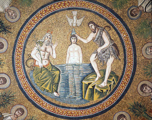 Italy, Ravenna the Baptism of Christ 5th century Byzantine mosaic in the Baptistry of Arians