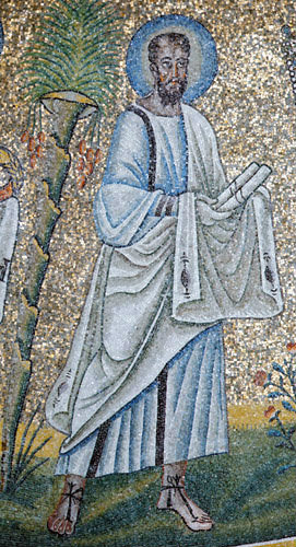 Italy, Ravenna St Paul 6th century Byzantine mosaic in The Dome of the Baptistry of Arians