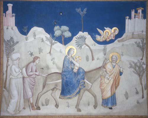 Flight into Egypt by Giotto de Bondone, 14th century, Lower Church, San Francesco, Assisi, Italy