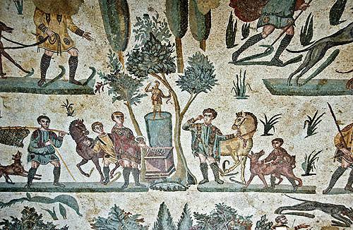 Sacrificing to Diana, Goddess of hunting, detail from Small Hunt, fourth century Roman Villa del Casale, near Piazza Armerina, Sicily, Italy