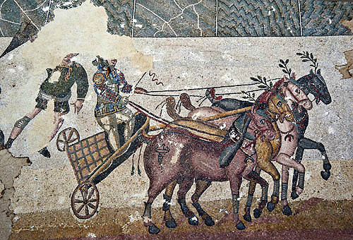 Chariot race, quadriga (four-horse chariot) in the Circus Maximus, in palaestra of fourth century Roman Villa del Casale, near Piazza Armerina, Sicily, Italy