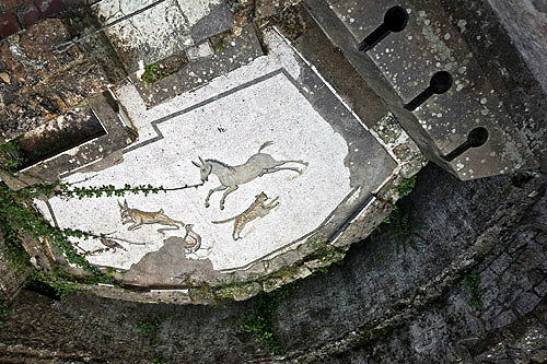 Animals and bird mosaic with latrines, fourth century Roman Villa del Casale, near Piazza Armerina, Sicily, Italy