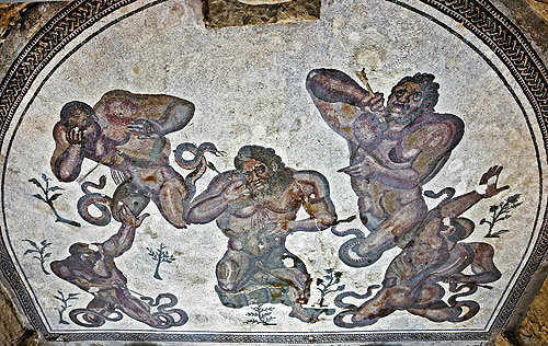 Hercules battling against giants with snake-like limbs, detail, fourth century Roman Villa del Casale, near Piazza Armerina, Sicily, Italy