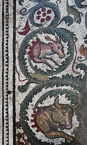 Mosaic frieze of bull and deer, fourth century Roman Villa del Casale, near Piazza Armerina, Sicily, Italy