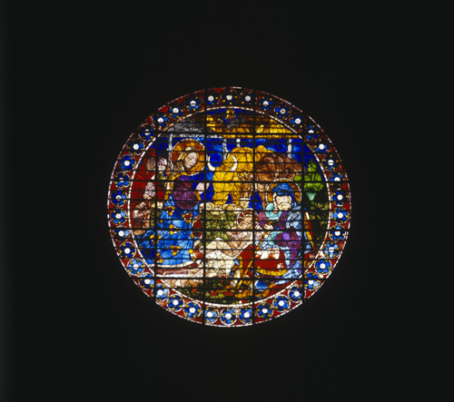 Nativity by Paolo Uccello, 15th century stained glass, one of the eye windows in the Duomo, Florence, Italy