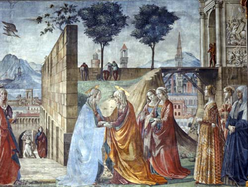 Visitation by Domenico Ghirlandaio, 1485, main chapel of Santa Maria Novella, Florence, Italy