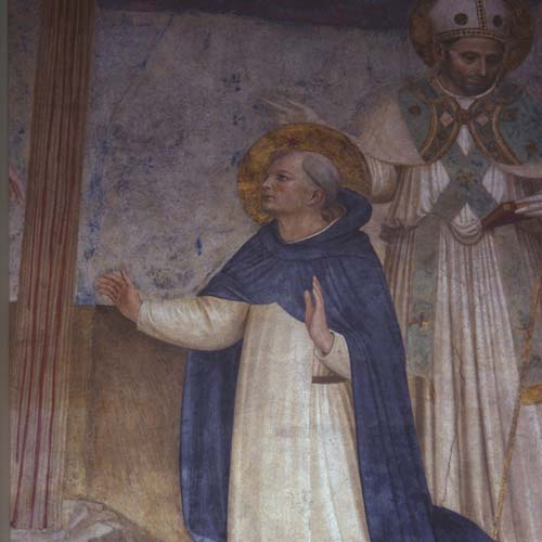 St Dominic at the foot of the cross, 15th century wall painting, Convent of San Marco, Florence, Italy