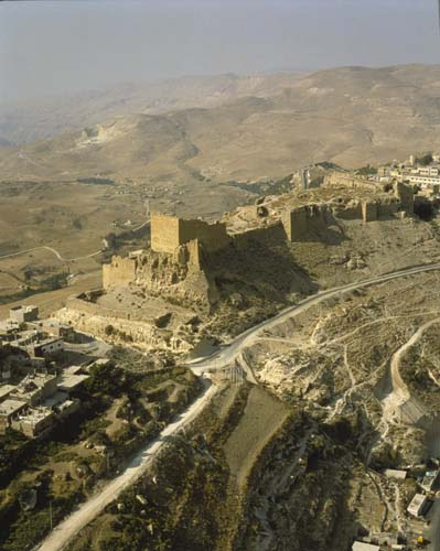Kerak castle, 12th century crusader castle, aerial, Jordan