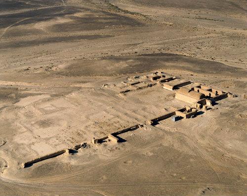 Qasr at-Tuba,the most remote of a group of desert residences built in the Jordanian desert under the Umayyad Caliph al-Walid II, aerial, Jordan