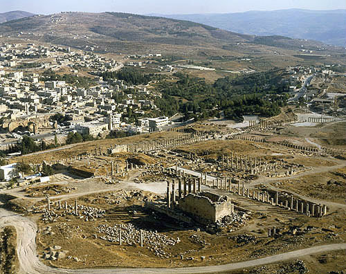 Aerial view of Jerash, one of the towns of the Decapolis, Jordan