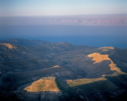 Machaerus, hilltop palace fortress East of Dead Sea, built early first century BC by Alexander Jannaeus, expanded by Herod the Great, aerial, Jordan
