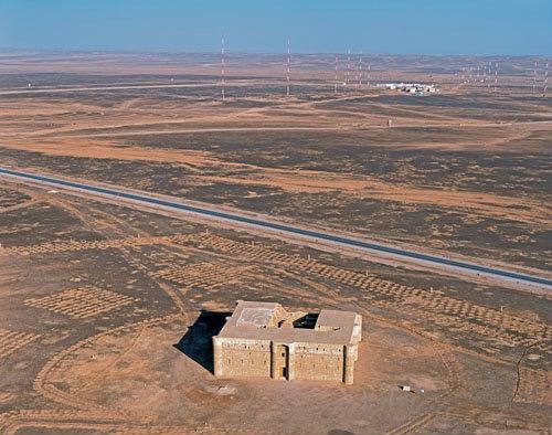 Qasr al-Kharaneh, Ummayad desert residence, c.711 AD built in order to maintain contact with the desert tribes, aerial, Jordan