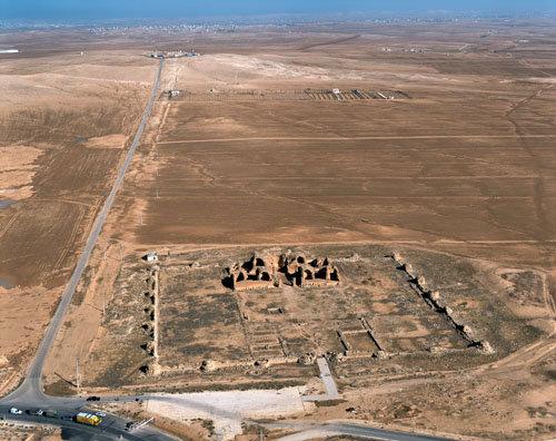 Qasr al-Mushatta, richly decorated Ummayad palace, 743-744 AD, aerial, Jordan