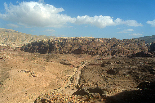 Arched Gate, colonnaded Street and Royal Tombs from Al-Habis, Petra. Jordan