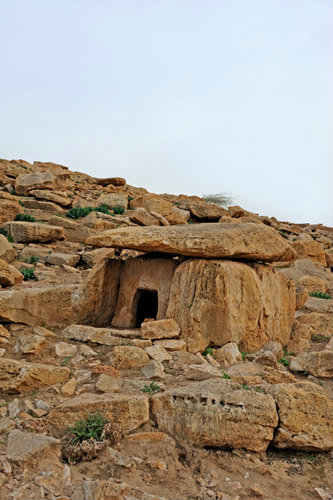 Early Bronze-age Dolmen in one of many groups on the East of the Jordan Valley, Dhamiya, Jordan