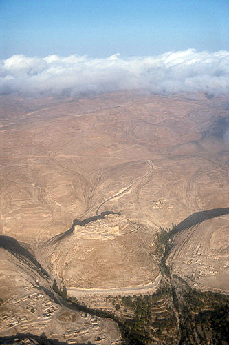Shaubak Castle built by Baudouin I of Jerusalem in 1115, aerial photograph, Jordan