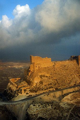 Kerak Crusader Castle, aerial photograph, Kerak, Jordan