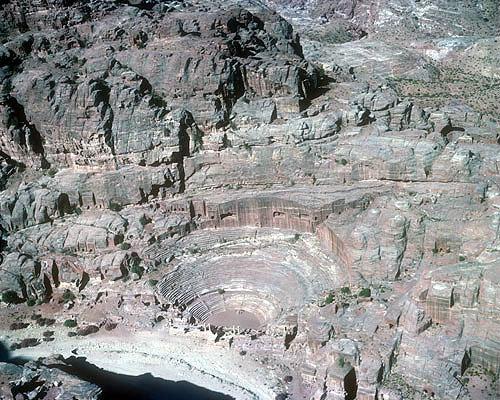 Theatre, aerial photograph, Petra, Jordan