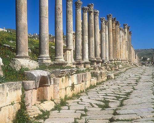 Cardo, north-south oriented Roman street, Jerash,  Jordan