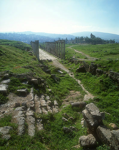 South Decumanus, east-west oriented Roman street, looking east, Jerash, Jordan