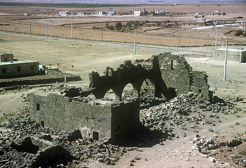 Umm el-Jimal west church, fifth century Romano-Byzantine basalt city, Jordan