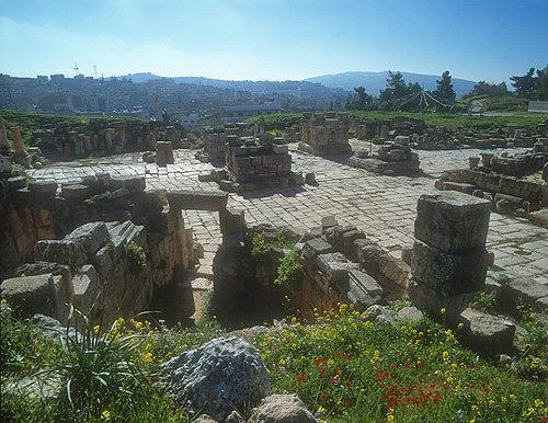South Tetrapylon, four-sided gateway at crossroads, Roman period, second century, Jerash, Jordan