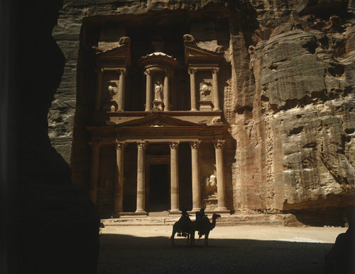 Treasury, (Khazneh) carved out of rock by Nabataeans,  first century BC, Petra, Jordan