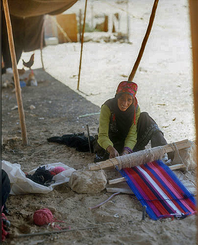 Weaving Rug In Her Tent Near Petra Jordan