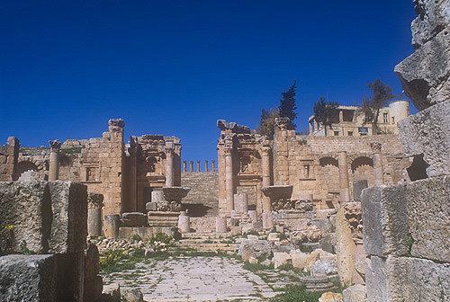 Propylaeum plaza gateway and steps to Temple of Artemis, Jerash, Jordan