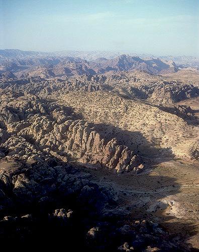 Mountains north of Petra from Beidha to Jabel Haroun, aerial photograph, Jordan