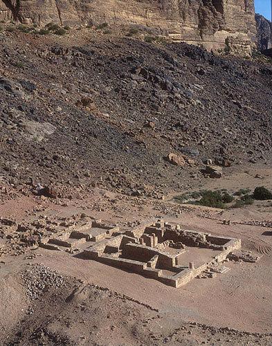 Nabatean temple, aerial photograph, Wadi Rum, Jordan