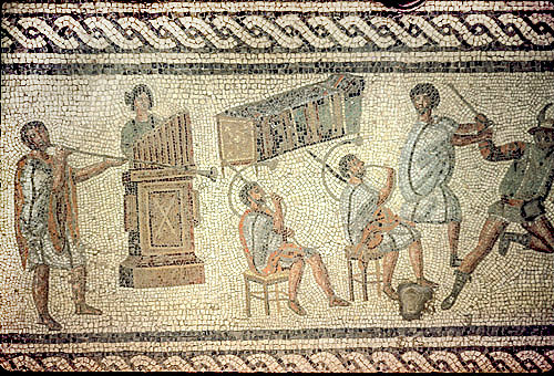 Musicians including an organist, trumpeters, horn blowers, third century, Roman mosaic, Tripoli, Libya