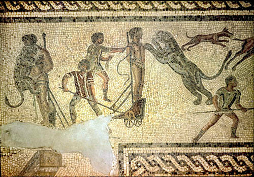 Killing of victims by leopards, third century, Roman mosaic, Tripoli, Libya