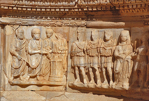 Libya, Sabratha, 2nd century AD, detail of marble relief at stage front