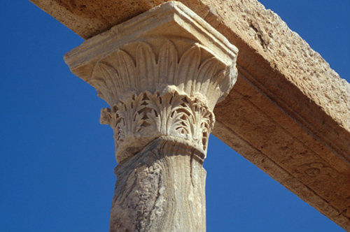 Libya Leptis Magna detail of Corinthian capital with acanthus and palm leaves, near market place