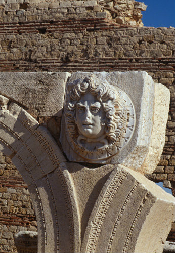 Libya Leptis Magna, marble heads of Medusa in the forum of Septimus Severus