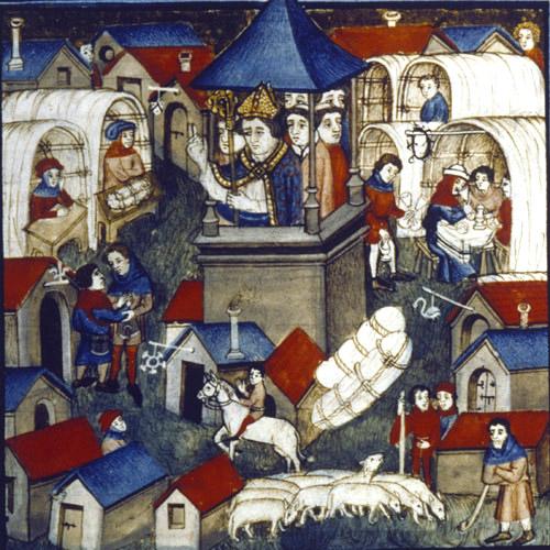 Fair at Lendit near St Denis, 15th century manuscript MS Latin 962 f. 264, Bibliotheque Nationale, Paris, France