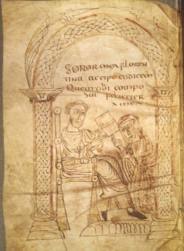 Isidore of Seville giving a book to his sister Florentine, from medieval latin manuscript, 7138 MS lat 13396 fol 1v, Bibliotheque Nationale, Paris