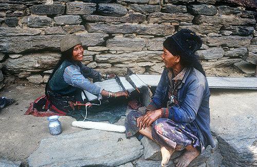 Sherpa women weaving, Nepal