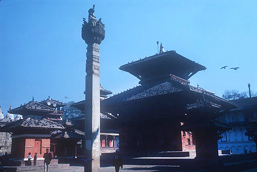 Statue of King Pratap Malla (reigned 1641-74), and sixteenth century Jagannath Temple dedicated to Krishna, damaged in 2015 earthquake, Kathmandu, Nepal