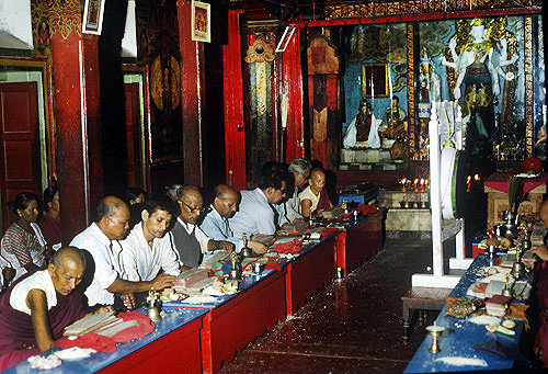 Buddhist priests in a temple, Nepal
