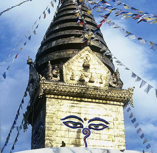 Close up of eyes on Buddhist stupa, Swayambhunath, Nepal