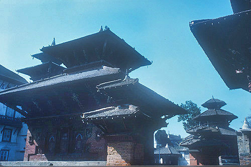 Jagannath Temple, sixteenth century, dedicated  to Krishna, damaged in 2015 earthquake, 2015, Kathmandu, Nepal